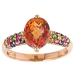 D'Yach 14k Rose Gold Orange Topaz and Multi-gemstone Ring