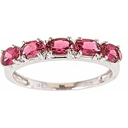 D'Yach 14k White Gold Pink Tourmaline Classic Ring