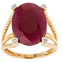D'Yach 14k Yellow Gold Ruby and Diamond Accent Ring