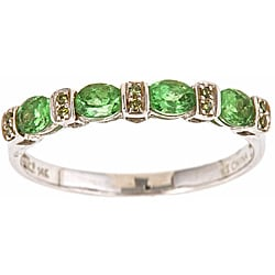 D'Yach 14k White Gold Tsavorite and Green Diamond Accent Ring