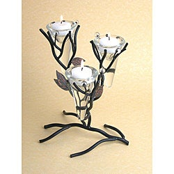 Triple Cone Twigs and Leaves Metal Candleholder