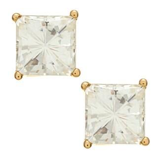 14k Yellow Gold Basket-set Princess-cut Moissanite Stud Earrings