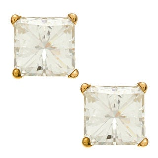 14k Yellow Gold Princess-cut Moissanite Stud Butterfly-clasp Earrings