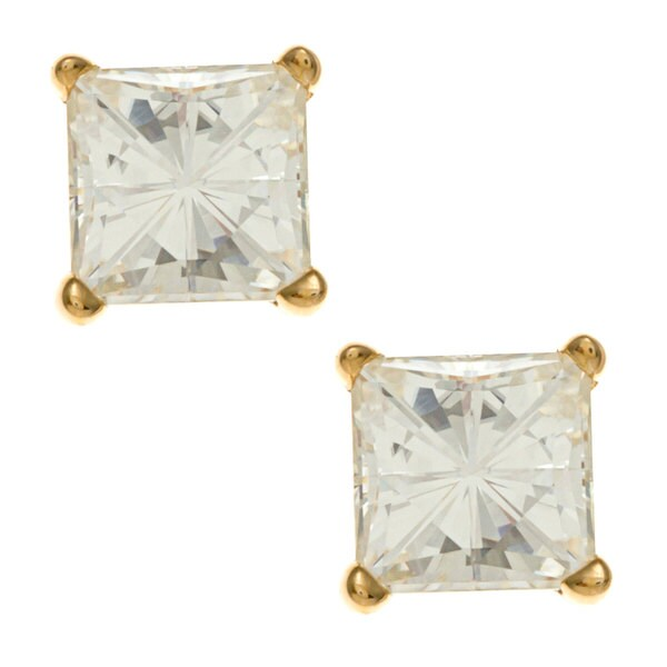 14k Yellow Gold Princess-cut Moissanite Stud Earrings
