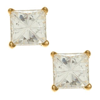14k Yellow Gold Princess-cut Moissanite Stud Earrings