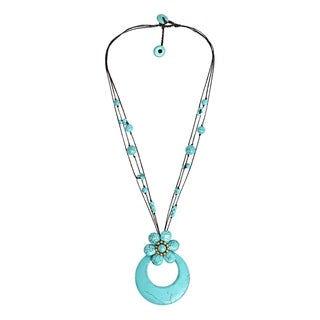 Handmade Turquoise Blue Medallion Flower on Cotton Rope Necklace (Thailand)
