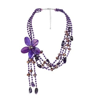 Sterling Silver Amethyst Floral Necklace (Thailand)