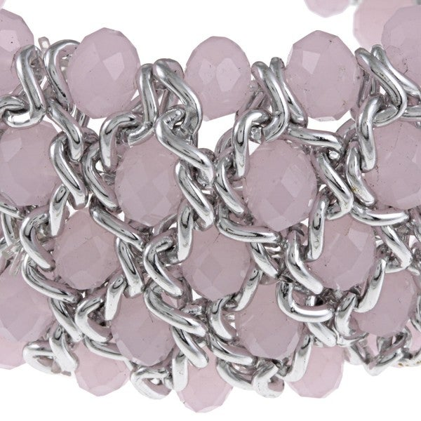 La Preciosa Silvertone Light Pink Faceted Crystal Stretch Bracelet