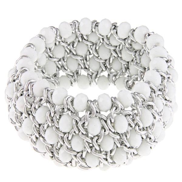 La Preciosa Silvertone White Faceted Crystal Stretch Bracelet