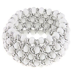 La Preciosa Silvertone White Faceted Crystal Stretch Bracelet