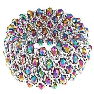 La Preciosa Silvertone Rainbow Crystal Stretch Bracelet