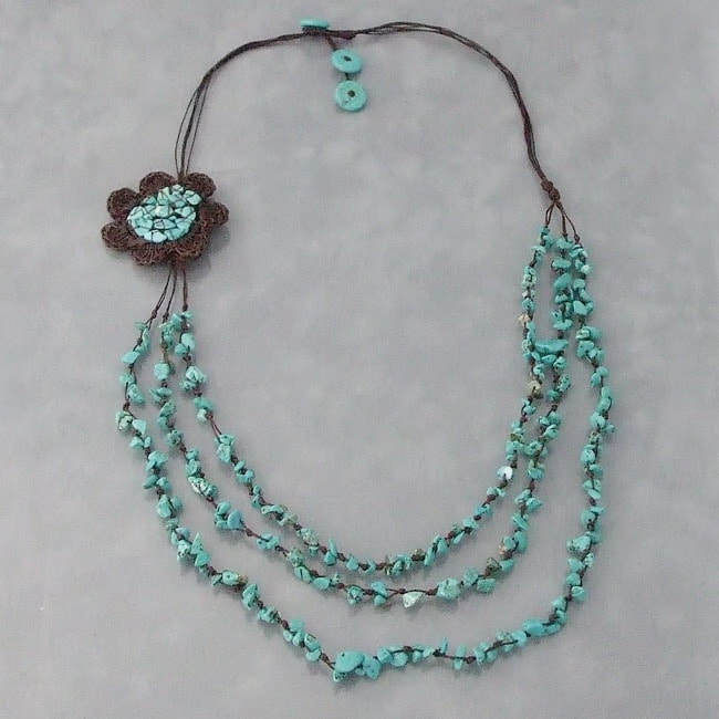 Reconstructed Turquoise Crochet Flower Bib Necklace ...