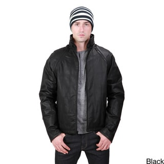 United Face Men's Leather Zip-off Sleeve Jacket
