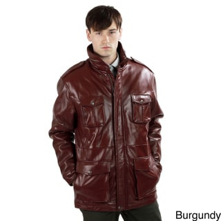 United Face Men's 3/4 Length Lambskin Military Leather Jacket