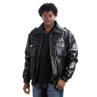 United Face Men's Military Leather Bomber Jacket