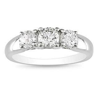 Miadora 14k White Gold 1ct TDW Diamond Three Stone Ring (G-H, I2-I3)