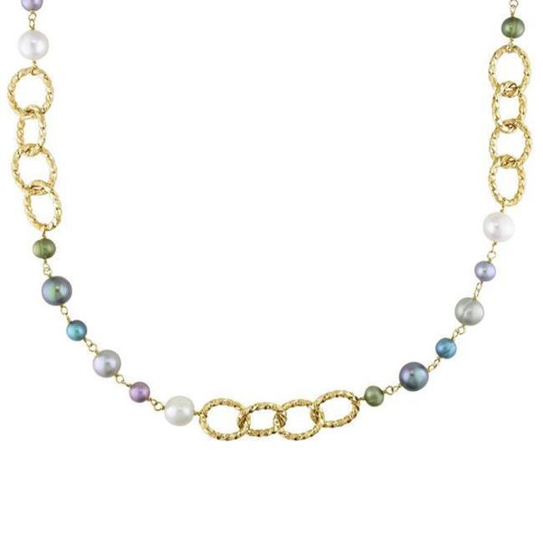 Miadora Yellow-Plated Brass FW Multi-Colored Pearl Twisted Link Necklace (7-10 mm) 8384011