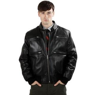 United Face Men's Lambskin Leather Bomber Jacket