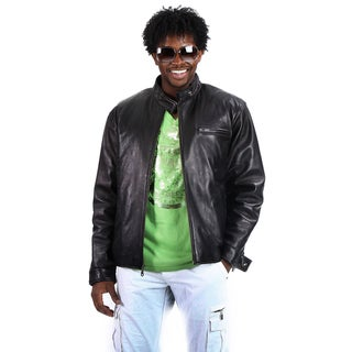 United Face Men's Moto Leather Biker Jacket