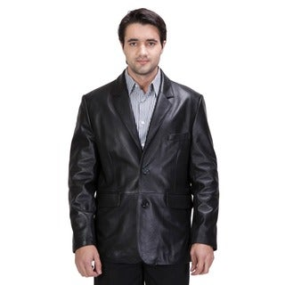 United Face Men's Black Leather Blazer