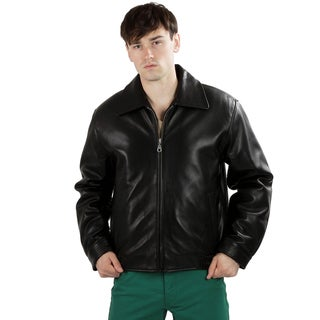 United Face Men's Classic Lambskin Leather Bomber Jacket