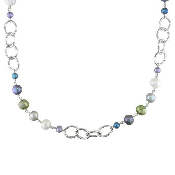 Miadora White-Plated Brass FW Multi-Colored Pearl Oval Links Chain Necklace