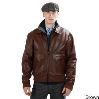 United Face Men's Lambskin Leather Bomber Jacket