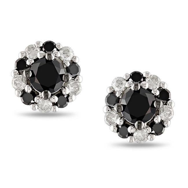 Miadora 10k White Gold 1/2ct TDW Black and White Diamond Halo Earrings(G-H, I2-I3)