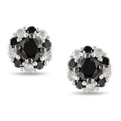 Miadora 10k White Gold 1/2ct TDW Black and White Diamond Halo Earrings(G-H, I2-I3)