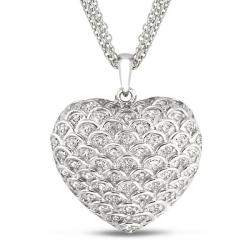 Miadora Sterling Silver 1/2ct TDW Diamond Heart Necklace (G-H, I2-I3)