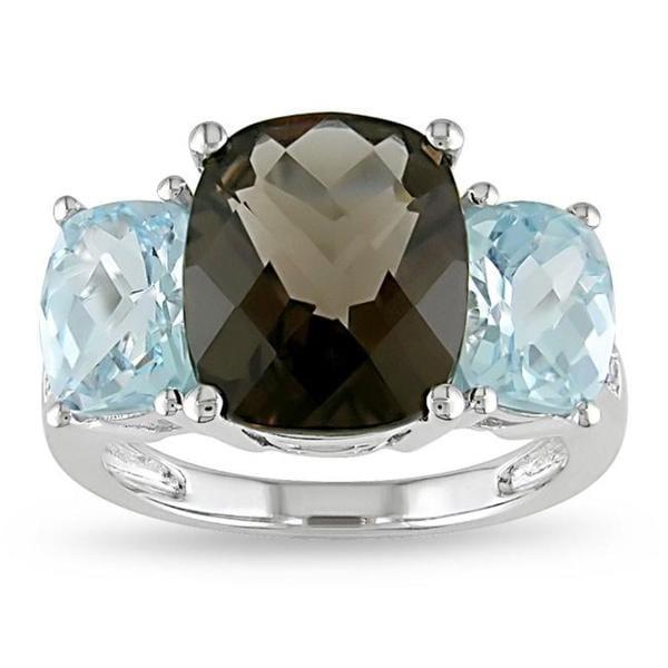 Miadora 10k White Gold Smokey Quartz, Blue Topaz and Diamond Accent Ring 8384165
