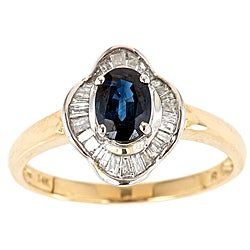 D'Yach 14k Two-tone Gold Sapphire and 1/4ct TDW Diamond Ring (G-H, I1-I2)