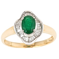 D'Yach 14k Two-tone Gold Emerald and 1/4ct TDW Diamond Ring (G-H, I1-I2)