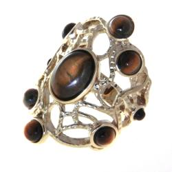 Adee Weiss Goldtone Tiger's Eye Cutout Ring