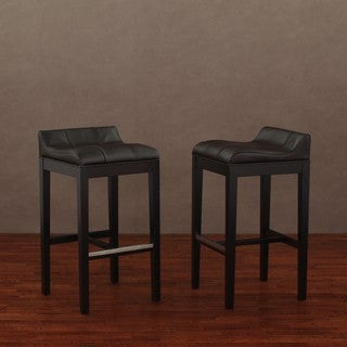 Saddle Dark Brown Leather Barstools (Set of 2)