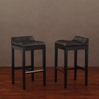 Saddle Dark Brown Leather Barstools (Set of 2)