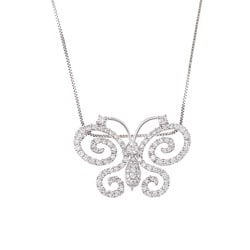 18K White Gold 1 1/4ct TDW Diamond Butterfly Necklace