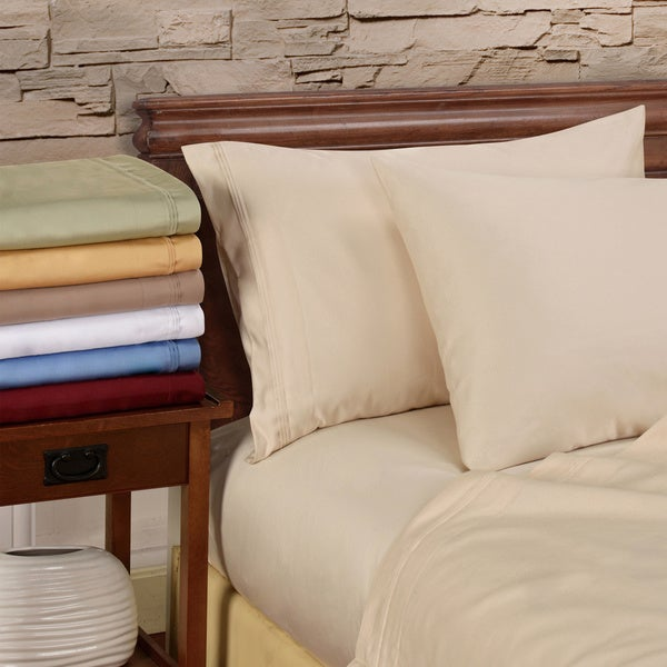 Luxor Treasures Egyptian Cotton 1000 Thread Count Solid 4-piece Sheet Set