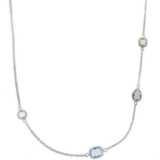 Dolce Giavonna Sterling Silver Simulated Multi-gemstone Station Necklace
