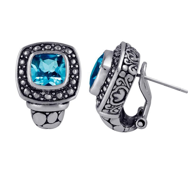 Sterling Silver Blue Topaz Stud Earrings (Indonesia)