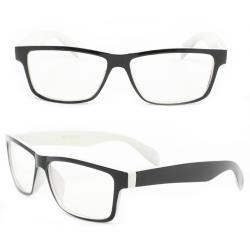 Unisex Black/White Plastic Clear-lens Rectangle Fashion Sunglasses