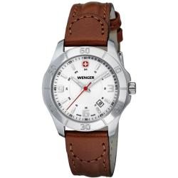Wenger Women's 'Alpine' White Dial Leather Strap Watch