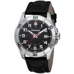 Wenger Men's 'Alpine' Black Dial Leather Strap Watch
