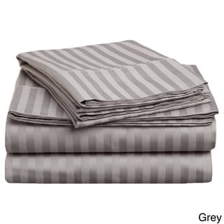 Simple Elegance Egyptian Cotton Sateen 300 Thread Count Stripe Sheet Set, Twin and Twin XL