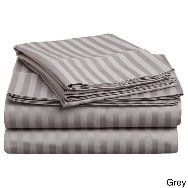 Luxor Treasures Egyptian Cotton Sateen 300 Thread Count Stripe Sheet Set, King and California King