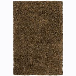 Handwoven 1.5-Inch Black/Brown Mandara New Zealand Wool Shag Rug (2'6 x 7'6)