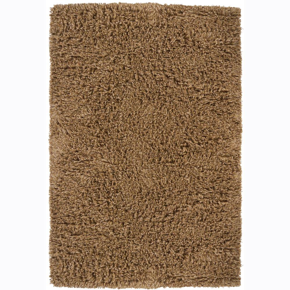 Handwoven Brown Shaded Mandara New Zealand Wool Shag Rug (7'9 Round)