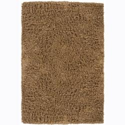 Handwoven Brown Shaded Mandara New Zealand Wool Shag Rug (7'9 Round)