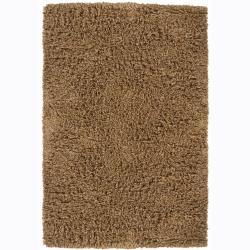 Handwoven Brown Shaded Mandara New Zealand Wool Shag Rug (9' x 13')