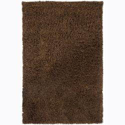 Handwoven 1.5-Inch Brown Mandara New Zealand Wool Shag Rug (7'9 Round)